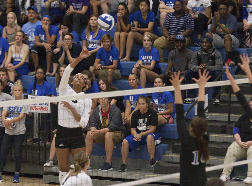 Senior outside hitter Kayla Nesbitt leaps for the ball during the Panthers' home-opening loss to Indiana State on Sept. 1 at Lantz Arena.