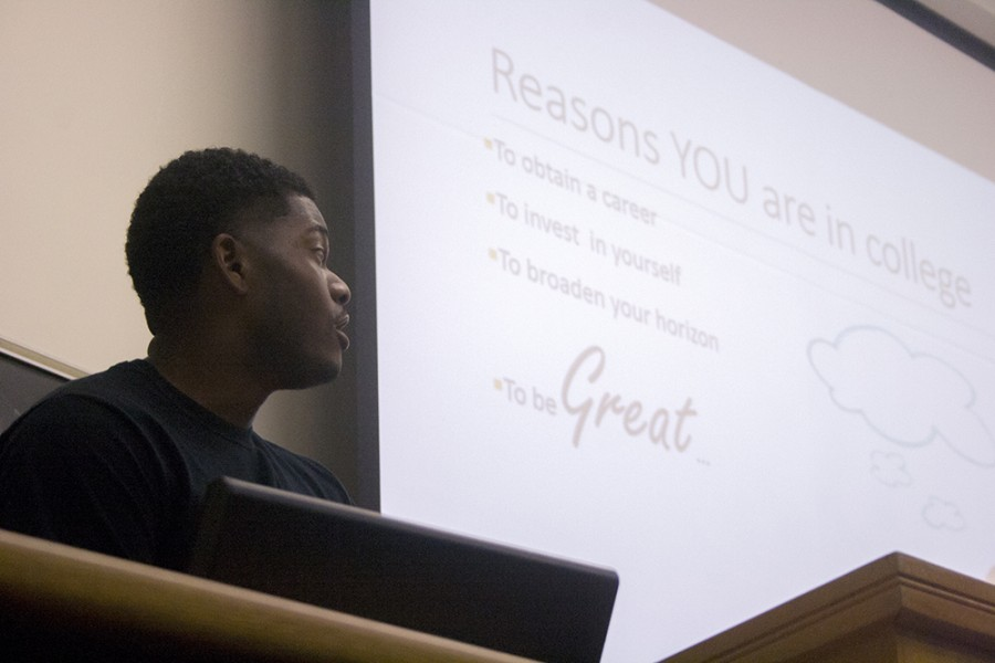 Kendel Fields, a senior health studies major, leads a discussion on surviving college during the Alpha Phi Alpha Welcome Back Forum on Wednesday in the auditorium of Coleman Hall.