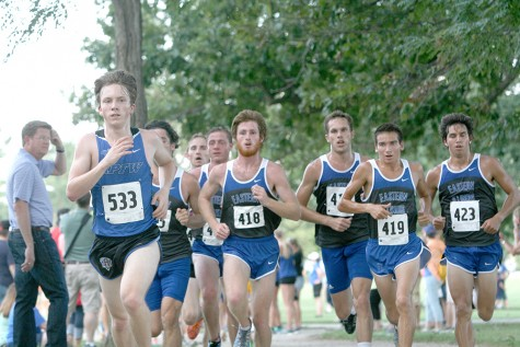 The Men's Cross Country team start off the race September 5, 2014  on the Panther Trail. The team took 2nd place at the EIU Walt Crawford race.