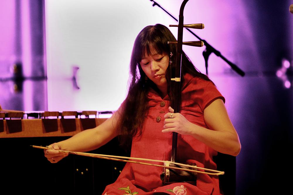 """Lan Tung, erhu and vocalist of the Orchid Ensemble, plays the Mongolian folk song """"Meeting in the Yurt"""" on Monday in the Recital Hall of the Dounda Fine Arts Center."""