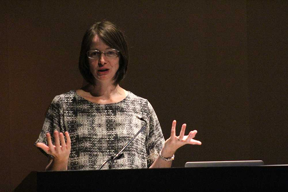 Dr. Andrea Smith, professor of English and gender studies a the University of Utah, gave a speech about the way amputees are portrayed in the media on Wednesday in the Doudna Fine Arts Center lecture hall.