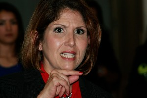 Illinois Lt. Gov. Evelyn Sanguinetti discusses her role as a Latina leader, education reform and other various issues with students interpersonally after speaking at the Latin American Student Organization meeting Wednesday in Grand Ballroom of the Martin Luther King Jr., University Union.