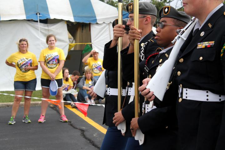 The Mattoon High School JROTC color guard marches down the parade route to present the colors during the singing of the National Anthem on saturday. The JROTC colorguard consisted of cadets Sam Uphoff, Elijah Milligan, Trenton Bitting and Toni Enlow.