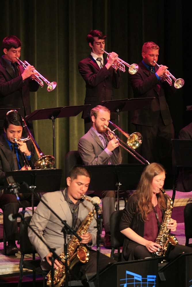 Members of the Eastern Jazz Ensemble perform a song during the Jazz Ensemble Concert on Sept. 25, 2014 in the Doudna Fine Arts Center.