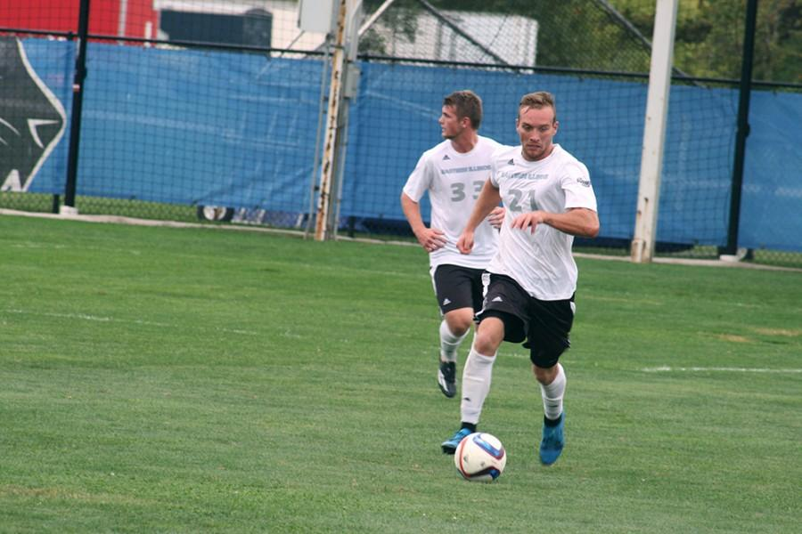 Junior Davis Wegmann brings the ball upfield on Saturday at Lakeside Field against Oral Roberts. The Panthers lost 2-1.