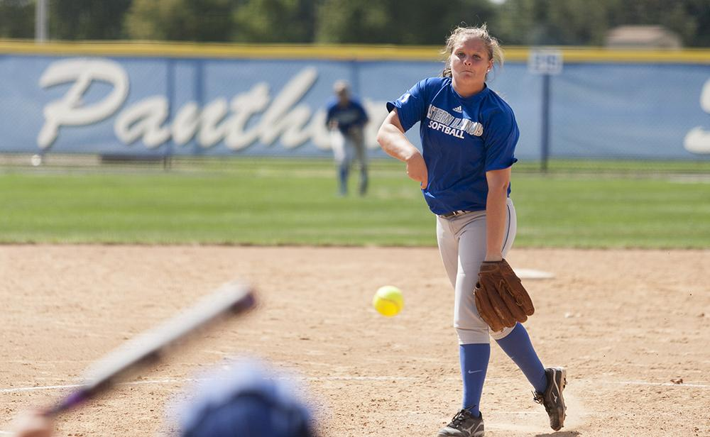 Sophomore pitcher Michelle Rogers throws out a pitch during the Panthers' 6-1 win against Illinois Central College on Sept. 27, 2014 at Williams Field. The Panthers face Olney Central Community College in a doubleheader on Friday at Williams Field.