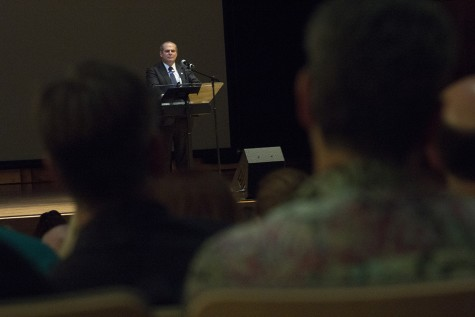 President David Glassman addresses student, faculity, staff, and community members about budget, enrollment, and community during the State of the University Address Monday in the Dvorak Concert Hall of the Dounda Fine Arts Center.