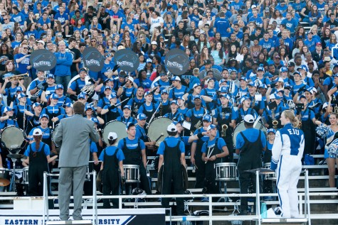The Panther Marching Band stands ready to breaking into music during the Panthers' home game against Southern Illinois-Carbondale on Sept. 6, 2014.