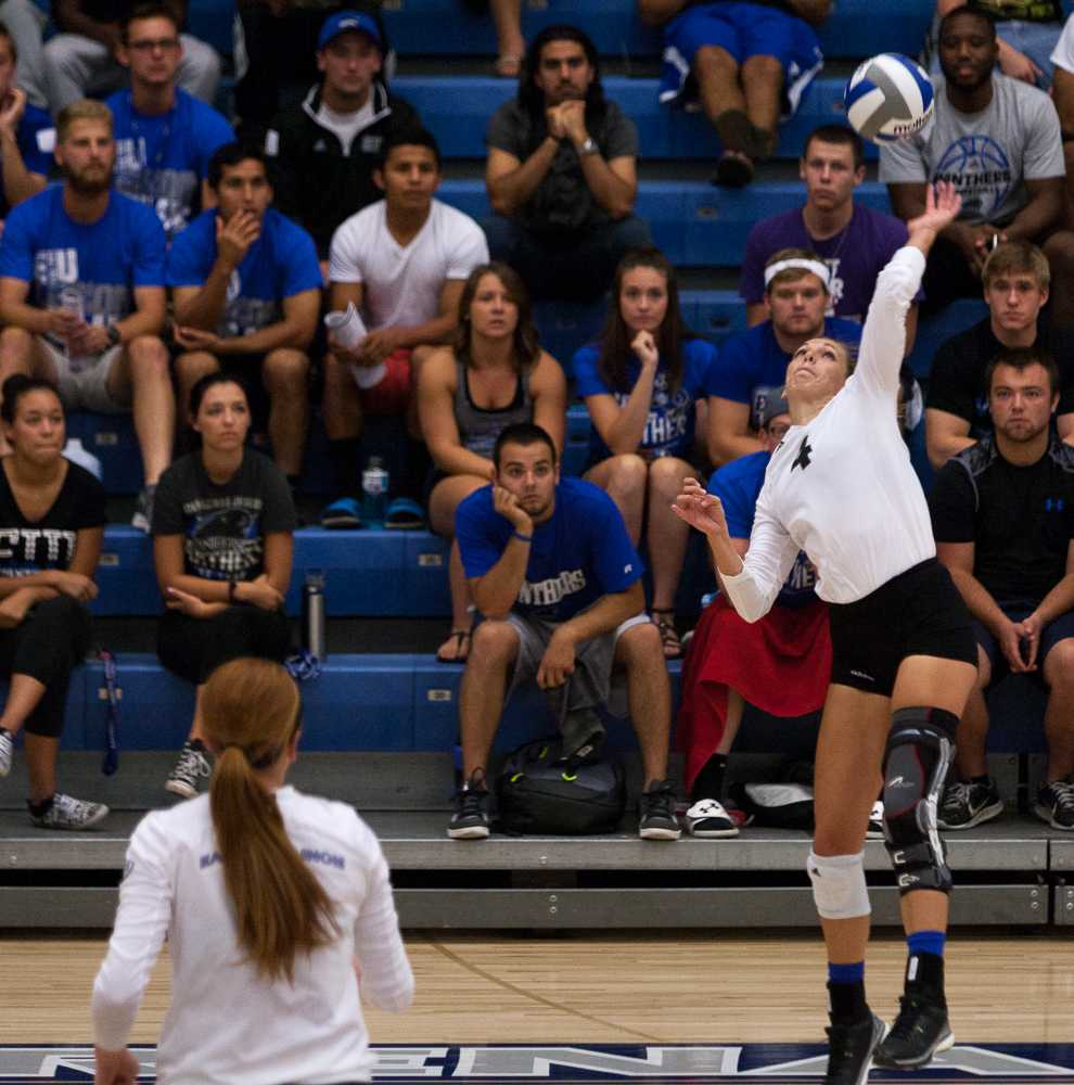 Senior outside hitter/setter Abby Saalfrank had nine kills and four errors out of four sets played during the Panthers' 3-1 loss to Indiana State on Sept. 1 in Lantz Arena.
