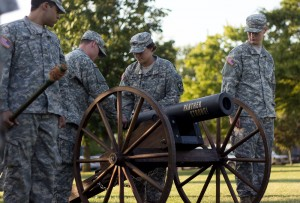 "Cadets of Eastern's ROTC Panther Battalion become acquainted with the cannon before the first home football game on Saturday at O'Brien Field.  Those who man the cannon, the ""Cannon Crew"", fire off the cannon after every touch down made by the Eastern football team."