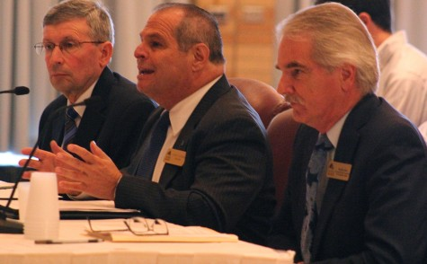 President David Glassman, (center) along with Blair Lord (right) and Paul McCann (left) speaks with the State Senate Higher Education Committee on Monday about the university budget in the Grand Ballroom of the Martin Luther King, Jr University Union.
