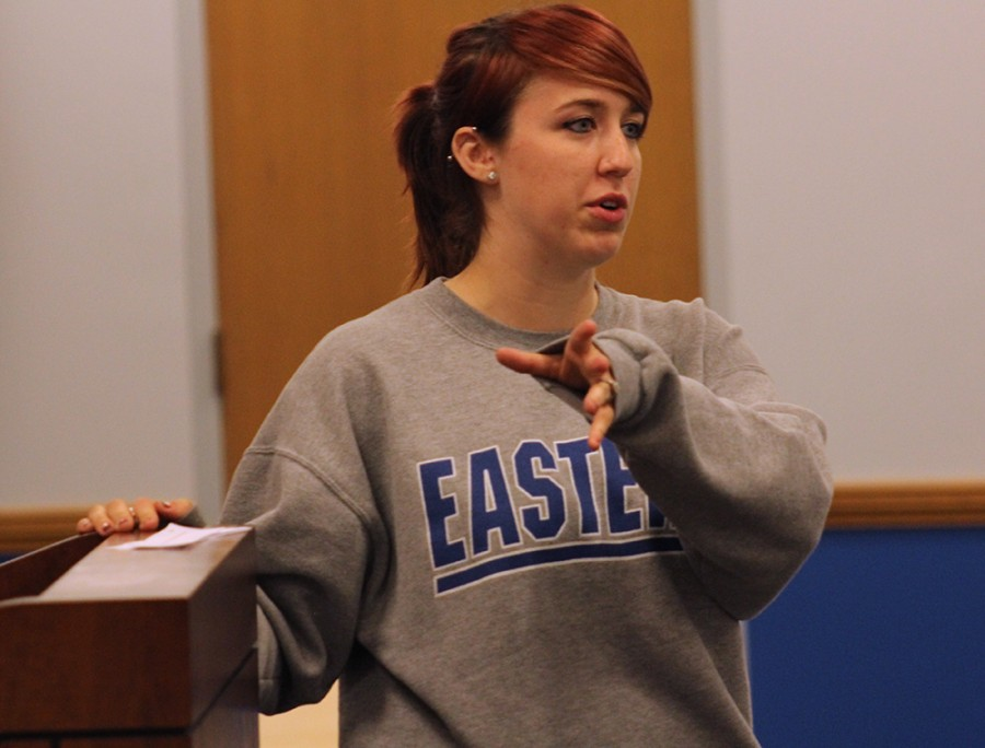 Mallorie Mosely, a senior psychology major speaks with students about the organization's  future events during the Pride meeting on Monday in the Charleston/Mattoon Room of the Martin Luther King, Jr. University Union