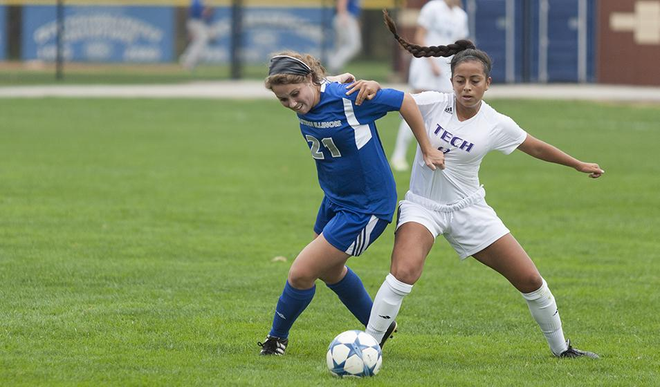Freshman Elisabeth Held fends off Tennessee Tech's Mayra Tarraga Manzanal during the Panthers' 1-0 win on Friday at Lakeside Field.