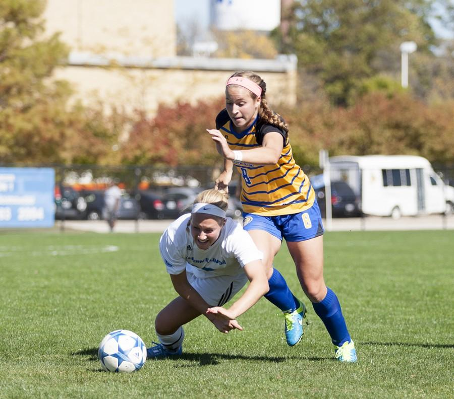 Freshman Kate Olson is shoved down during the Panthers' 1-0 loss to Morehead State on Sunday at Lakeside Field.