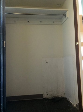 The closet in one of the rooms of suite 5G on the 5th floor of Stevenson Hall is undergoing repairs before students can move back in. The walls have been repainted and the drawers have been taken out to be refinished.