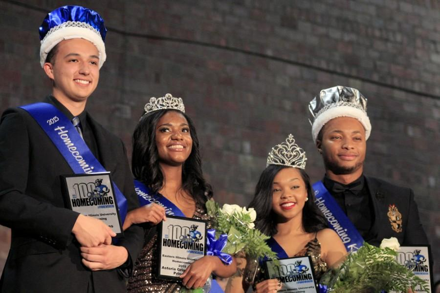 Winners of the 2015 Homecoming Court pose for photos after the announcement on Monday in McAfee Gymnasium. In order from left to right: Shaun Hughes, Homecoming Prince, Astoria Griggs- Burns, Homecoming Princess, Kelsey Hosea, Homecoming Queen, and Darien Ghoston, Homecoming King.