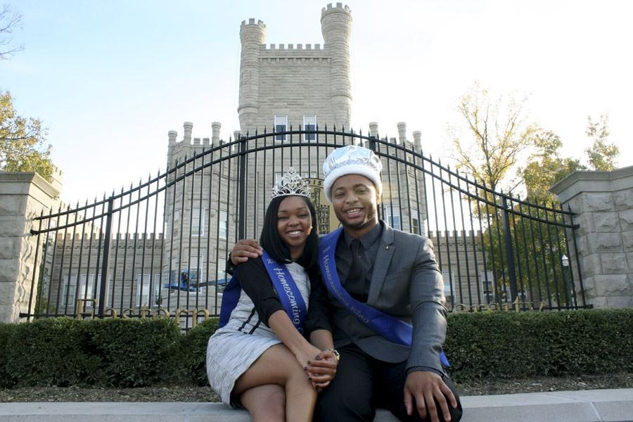 """Darien Ghostone, a junior kinesiology and sports studies major, and Kelsey Hosea, a senior communication studies major, were crowned Eastern's Homecoming King and Queen on Monday in McAfee Gymnasium. Ghostone said that he remained humble through the process even when his friends would tell him he was going to win. """"I heard my name, and I just smiled,"""" Ghostone said. """"I feel blessed being the 100th king."""""""