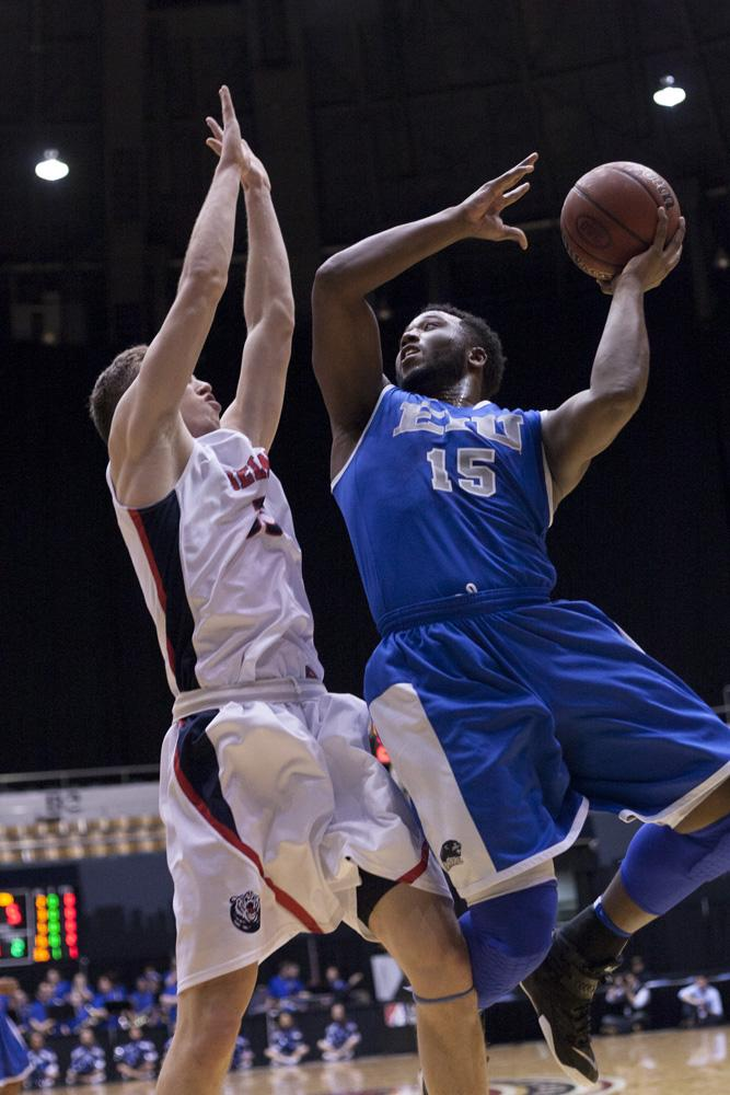 Senior wing Trae Anderson attempts a shot during the Panthers' 97-64 loss to the Belmont Bruins in round two of the Ohio Valley Conference tournament on March 5, 2015 in Nashville, Tenn.  Anderson scored 13 points for the Panthers.