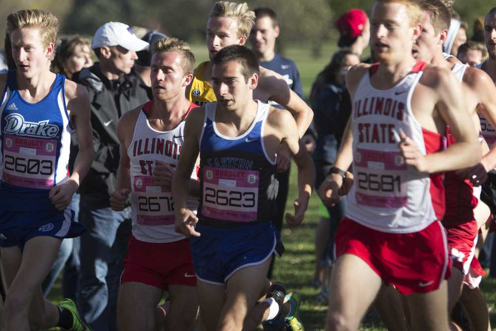 Junior Paxson Menard finishes 41th out of 250 during the men's 8K red race at the Bradley Pink Classic on Friday at Newman Golf Course on Friday in Peoria, Ill.  Menard finished with a time of 24:53.