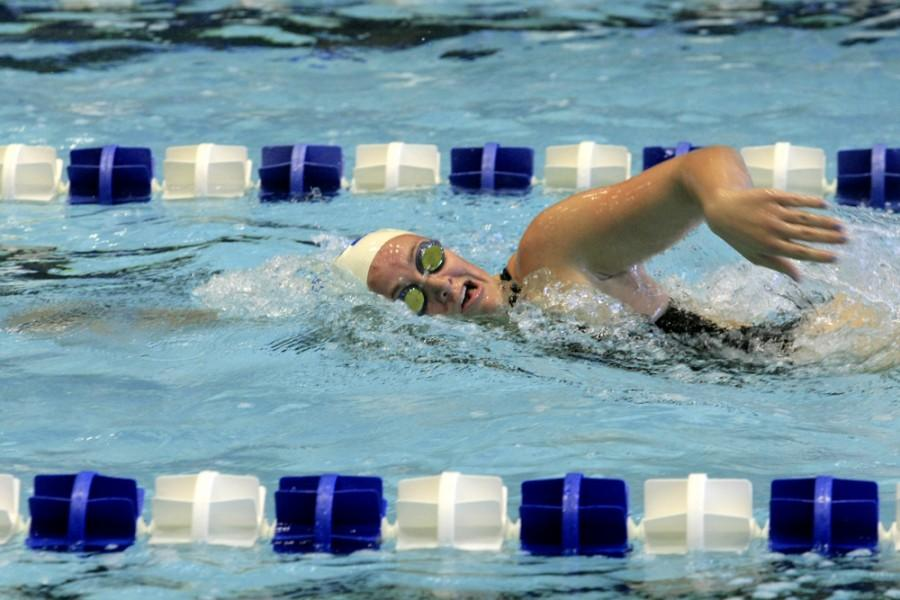 Freshman+Martee+Grainger+swims+frontstroke+during+the+swim+meet+against+Indiana+University-Purdue+University+Indianapolis+on+Oct.+17.+Grainger+swam+in+the+meet+against+Evansville+Saturday+Oct.+31+where+she+took+3rd+place+in+the+200-yard+freestyle+event+and+2nd+in+the+200-yard+backstroke+event.