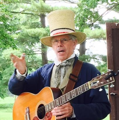 Tom Vance, President of the Five Mile House Foundation and the former Ranger Keeper of the Lincoln Log Cabin, performs and writes colonial folk music after hours at the Five Mile House. Vance also performs during the Living History Re-enactments.