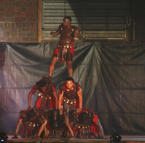 Members of the Kappa Alpha Psi fraternity perform a step routine at the Annual Step Show on Saturday in McAfee Gym.