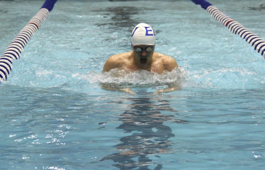 Brandon Robbins swims breaststroke during the 400-yard medley relay on Saturday during Eastern vs. Valparaiso at Padovan Pool. The relay took first, finishing with the time 3:34.68.