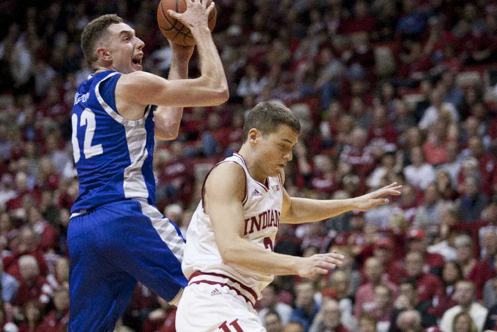Freshman forward Patrick Muldoon goes up for a shot during the Panthers' 88-49 loss to Indiana on Friday in Bloomington, Ind.