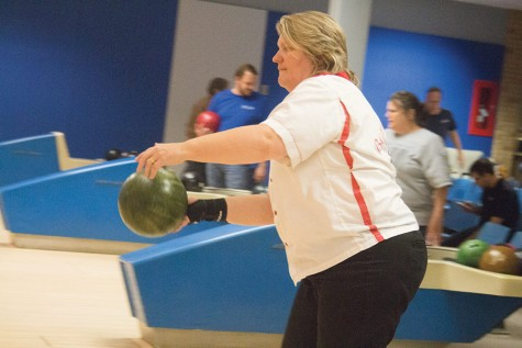 Director of Testing, Wendy Long prepares to bowl Monday during the Facultly/Staff Bowling League in the Martin Luther King, Jr. University Union. The league meets every Monday from 6:30 to 9 p.m.