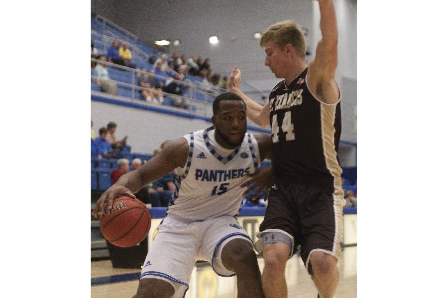 Senior wing Trae Anderson scores 18 points in the Panthers' 74-71 exhibition game win against St. Francis on Tuesday in Lantz Arena.