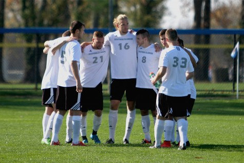 Members of the Eastern men's soccer team huddle up before their final game of the season against Omaha on Saturday. The Panthers finished with a 1-5 record in Summit League conference play.