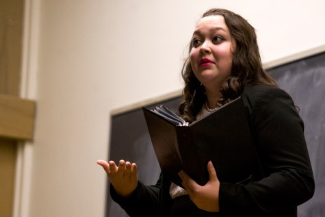 Cheyenne Flores, a freshman communication studies major and theatre arts major, performs a Prose Interpretation speech where the author describes the discrimination she felt being Latina in school during the EIU Speech Team Fall Showcase on Wednesday in the auditorium of Coleman Hall.