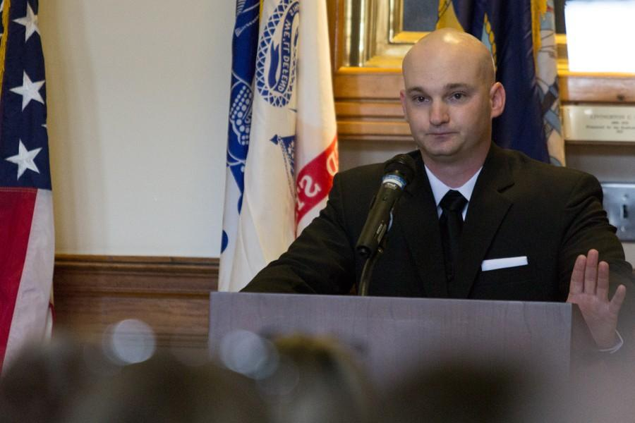 T.J. Prater, a sophomore commuication studies major and student veteran, talks about his military experience during the Veterans Day ceremony in the Cougill Foyer of Old Main on Wednesday. Prater asked those in attendance to,