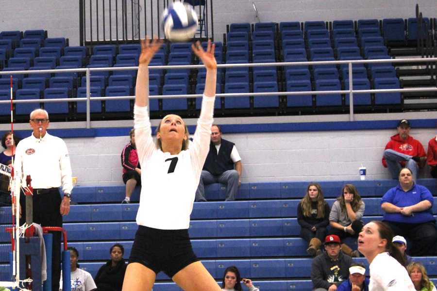 Freshman Taylor Smith sets the ball in a match against Southern Illinois Edwardsville Wednesday night in Lantz Arena. Smith had 53 assists on the night.