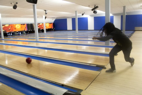 Kevin Greaves, a sophomore physics major, plays a game of bowling on Wednesday at EIU Lanes in the Martin Luther King Jr., University Union.