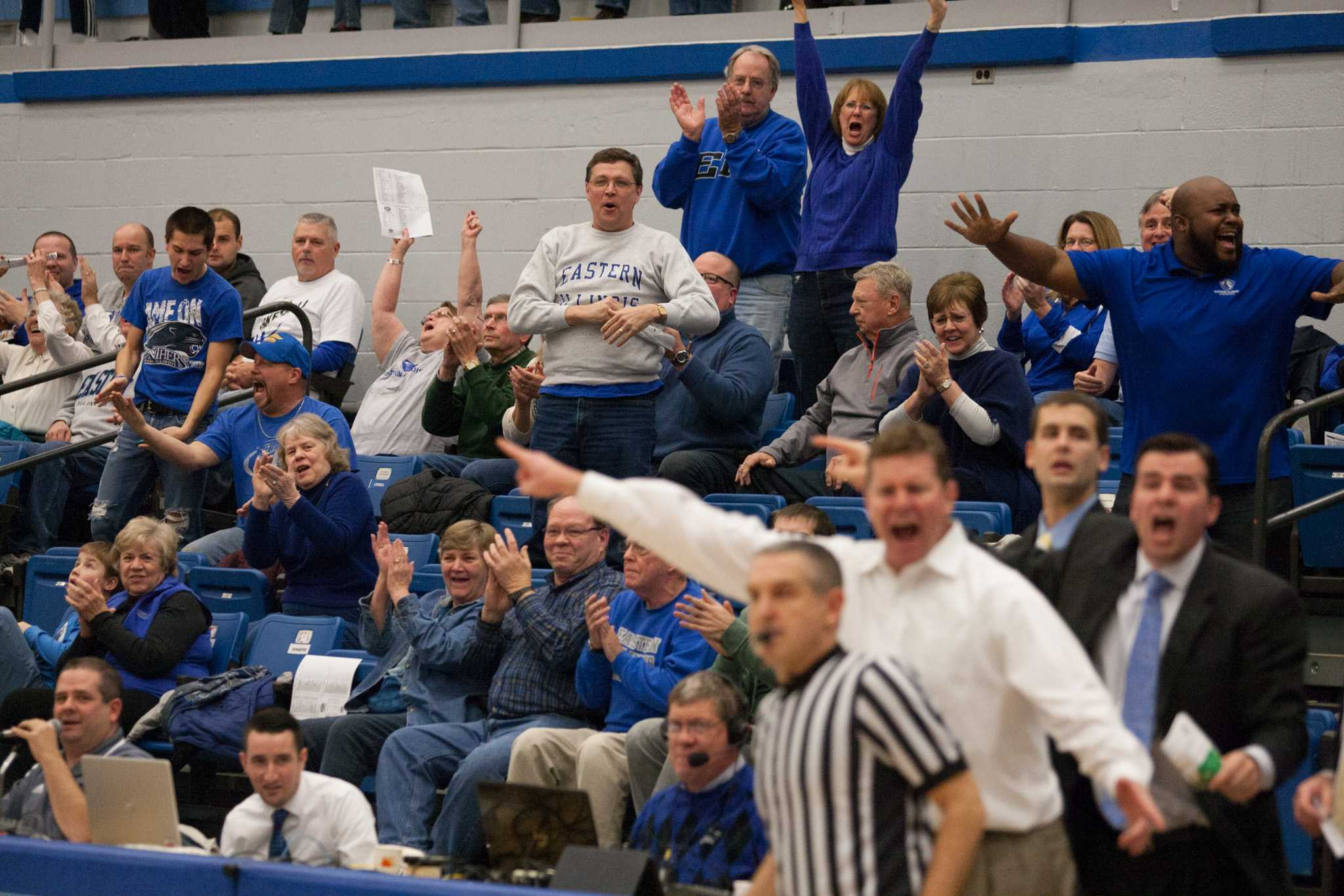 Celebrations abound as the Panthers defeat the Northern Kentucky Norse 79-73 in overtime on Saturday in Lantz Arena.