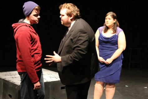 Theatre majors Frank Monier, Jason Tague, and Holly Allen, rehearse a scene for their Classical Acting Styles class' production of 'Hamlet' on Wednesday in the Globe Studio. The production will take place at 8 p.m. on Thursday in the Globe Studio.