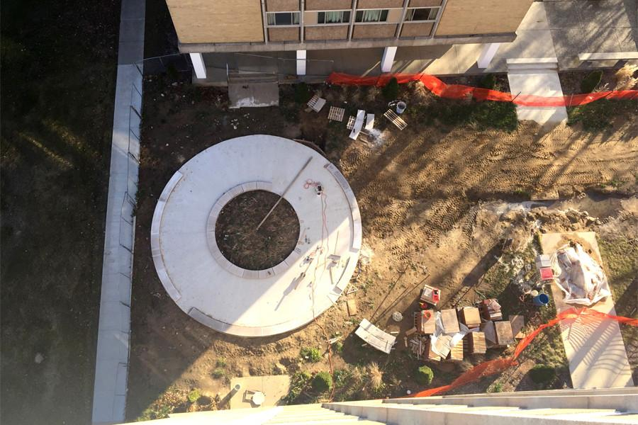 The current progression of the courtyard, as seen from the top of Lawson Hall. The courtyard is expected to be completed by May 2015.