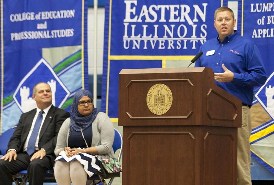 Charleston mayor Brandon Combs addresses new students during Convocation on Aug. 21, 2015 in Lantz Arena.