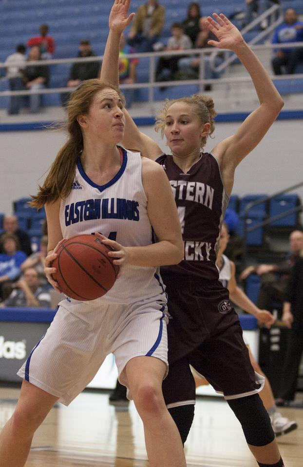 Jason Howell | The Daily Eastern News Freshman forward Halle Stull scored 11 points during the Panthers' 75-56 loss to Eastern Kentucky on Thursday in Lantz Arena.
