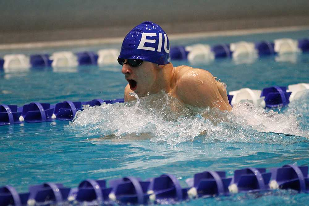 Sophomore Matt Jacobs competes in the men's 100-yard breaststroke on Saturday, Jan. 16 at Padovan Pool during the meet against Western Illinois.