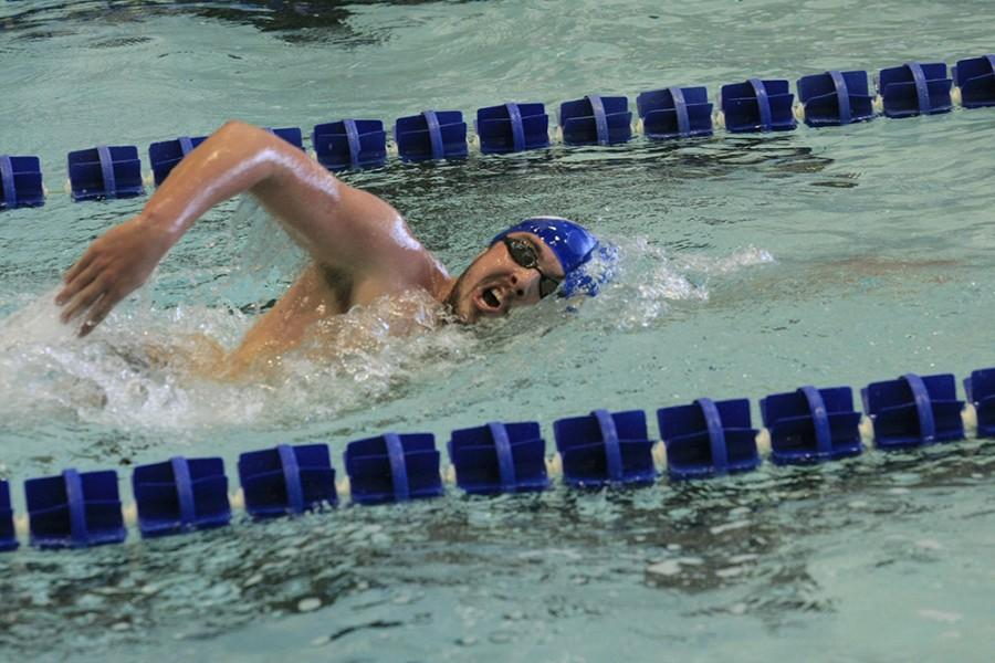 Kyle+Ruckers+swims+the+1000+yard+freestyle+during+the+meet+against+Indiana+University-Purdue+university+Indianapolis+on+oct.+17.+Ruckert+is+preparing+himself+for+the+mile+event+at+conference.