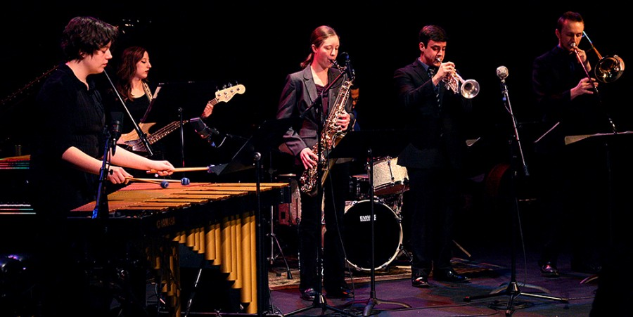 """The Vanguard Sextet plays """"Take the A Train"""" written by Billy Strayhorn and arragned by Cark Terry during the EIU Jazz Combos concert on Feb.19, 2015"""