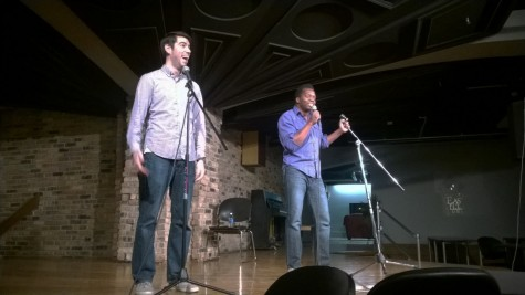 Esteban Gast and Iggy Mwela, Cometry artists, perform a stand-up routine Friday in the 7th Street Underground of the Martin Luther King Jr. University Union. The group performed a mixture of comedy and spoken word routines as part of their unique performance.