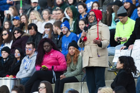 Student Body President Shirmeen Ahmad speaks to the assembled ralliers on the Library Quad on Friday.