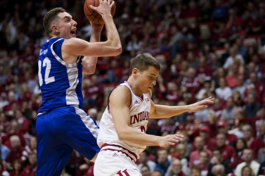 Freshman+forward+Patrick+Muldoon+goes+up+for+a+shot+during+the+Panthers+88-49+loss+to+Indiana+on+Nov.+13+in+Bloomington%2C+Ind.