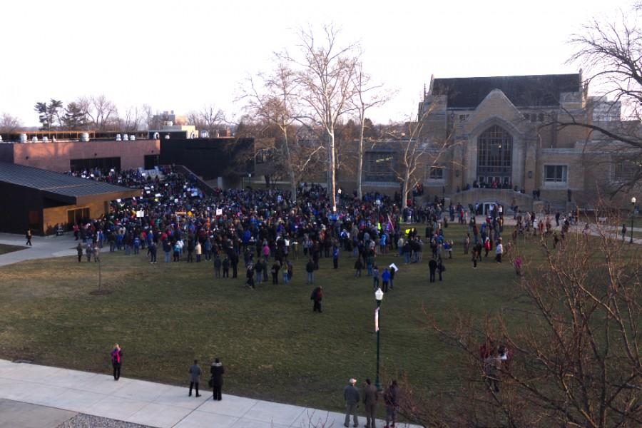 The crowd of assembled students, staff, faculty, laid off employees, and members of the community and General Assembly gather for the Fund EIU rally on the Library Quad.