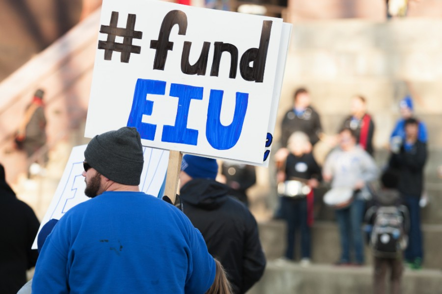 A sign during the Fund EIU rally in the Library Quad on Feb. 5.