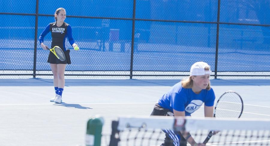 Senior Hannah Kimbrough prepares to serve during the doubles match against Southeast Missouri Friday at Daring Courts. Kimbrough partnered with sophomore Grace Summers for the 7-0 win.
