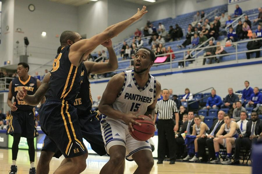 Senior wing Trae Anderson goes up for a layup during the Panthers 85-74 win against Murray State on Feb. 25 in Lantz Arena. The Panthers will play Murray State for their first game in the OVC Tournament in Nashville Wednesday.